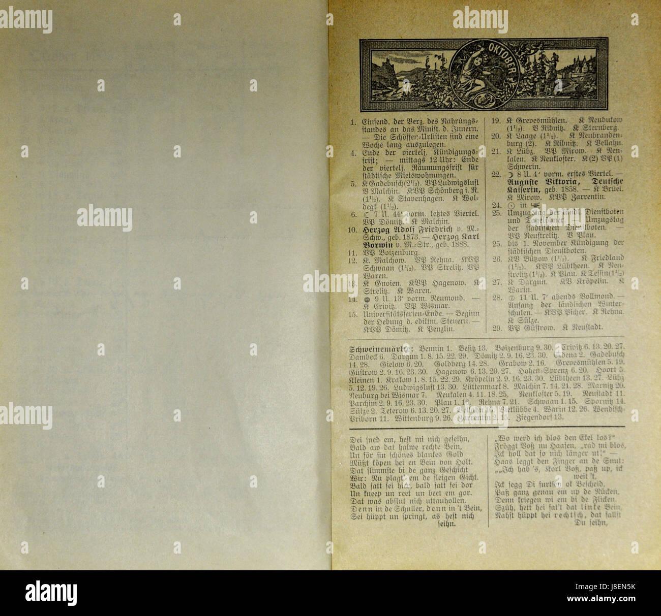 Mecklenburgischer Kalender 1909 022 Stock Photo