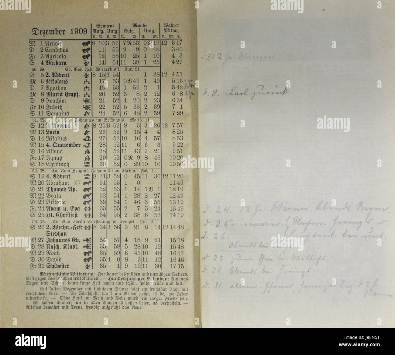 Mecklenburgischer Kalender 1909 025 Stock Photo