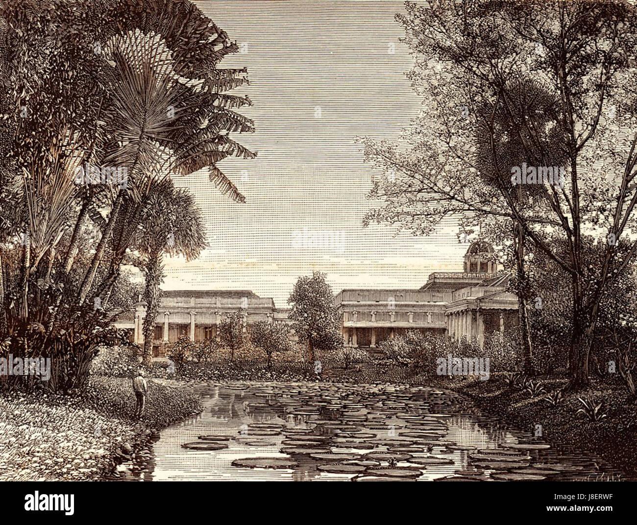 Gezicht op het paleis van de gouverneur generaal uit 's lands plantentuin te Buitenzorg - Stock Image