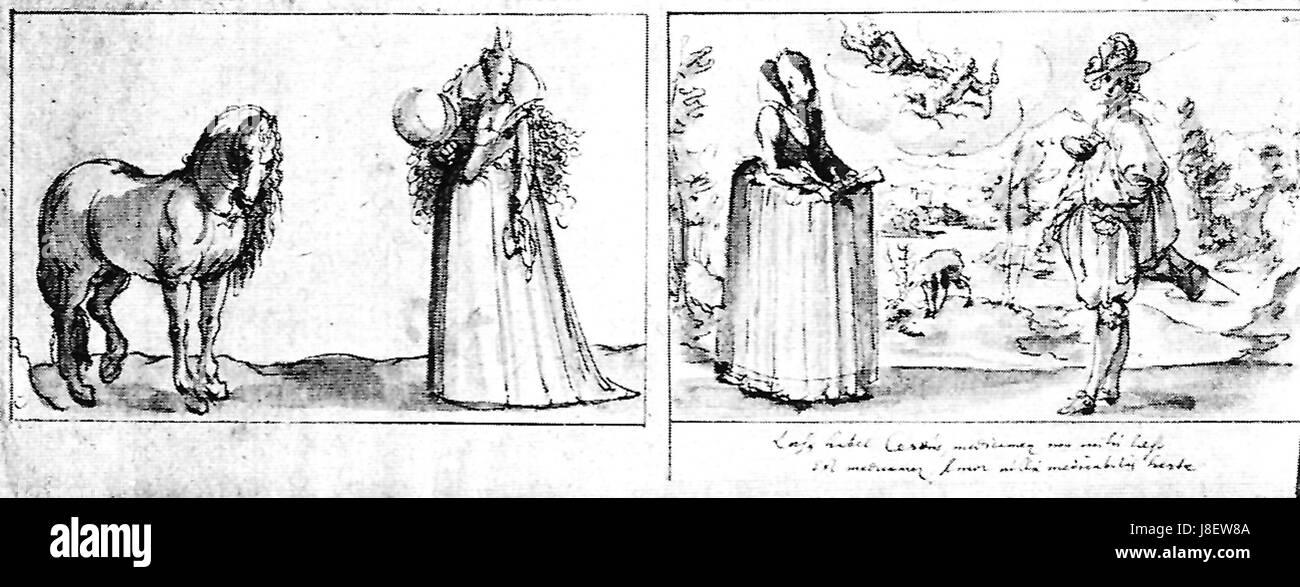 F Brentel   zwei allegorische Darstellungen FedZeichn.lav. F17v 4 5 (UzFBi81) - Stock Image