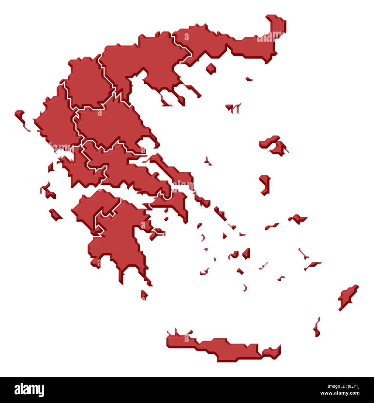 greece, map, atlas, map of the world, profile, symbolic ...