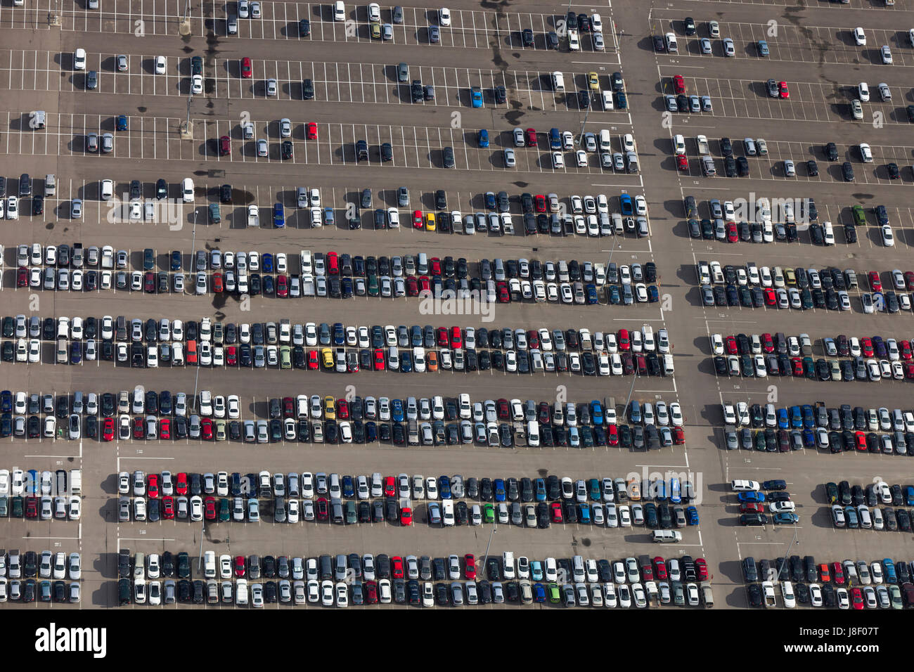 Large car parking with a large number of cars. - Stock Image