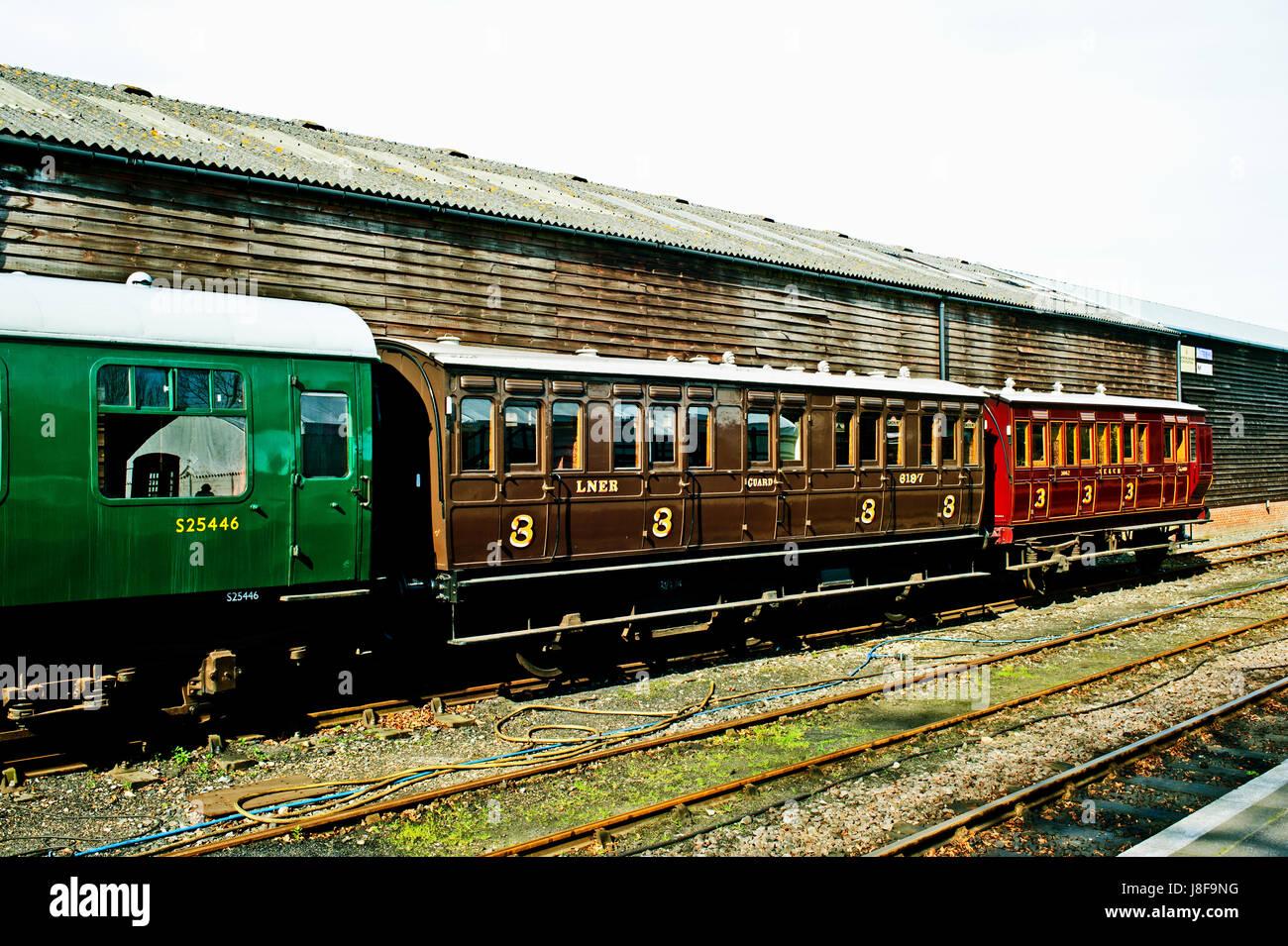 Vintage coaches, Tenterden railway station, tentergden Kent - Stock Image