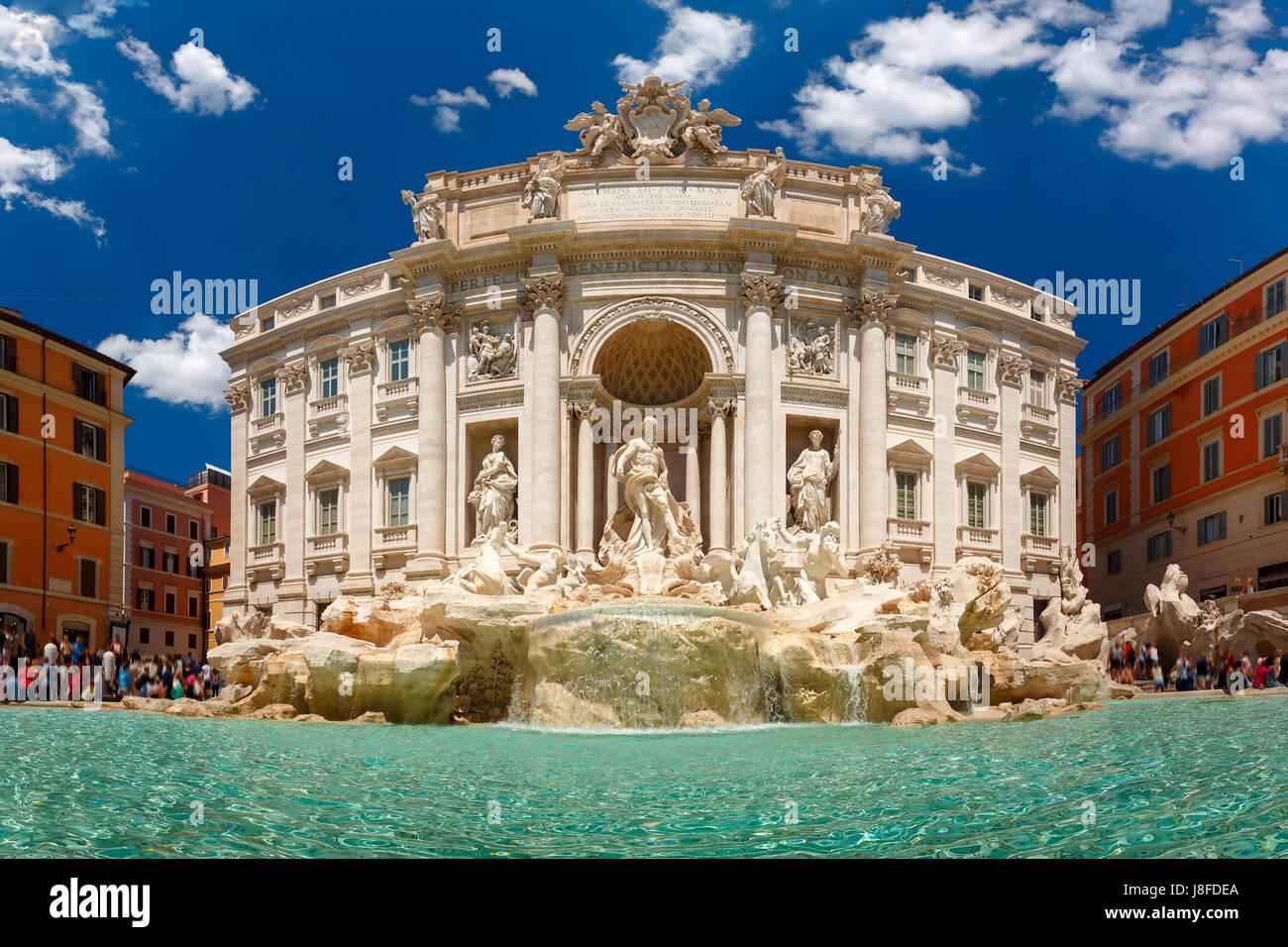 Trevi Fountain or Fontana di Trevi in Rome, Italy - Stock Image