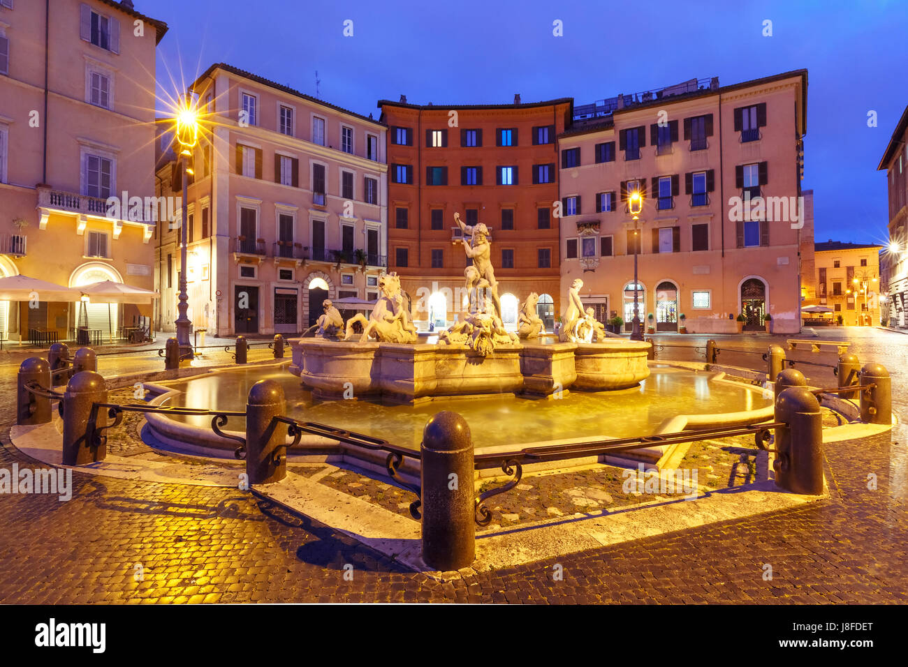 Piazza Navona Square at night, Rome, Italy. - Stock Image