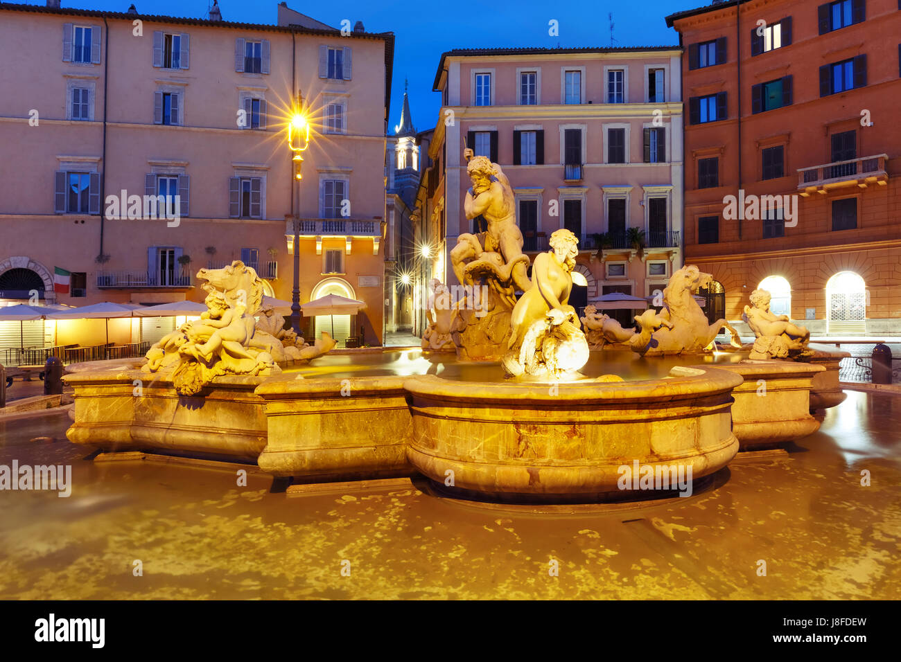 Fountain of Neptune on Piazza Navona, Rome, Italy. - Stock Image
