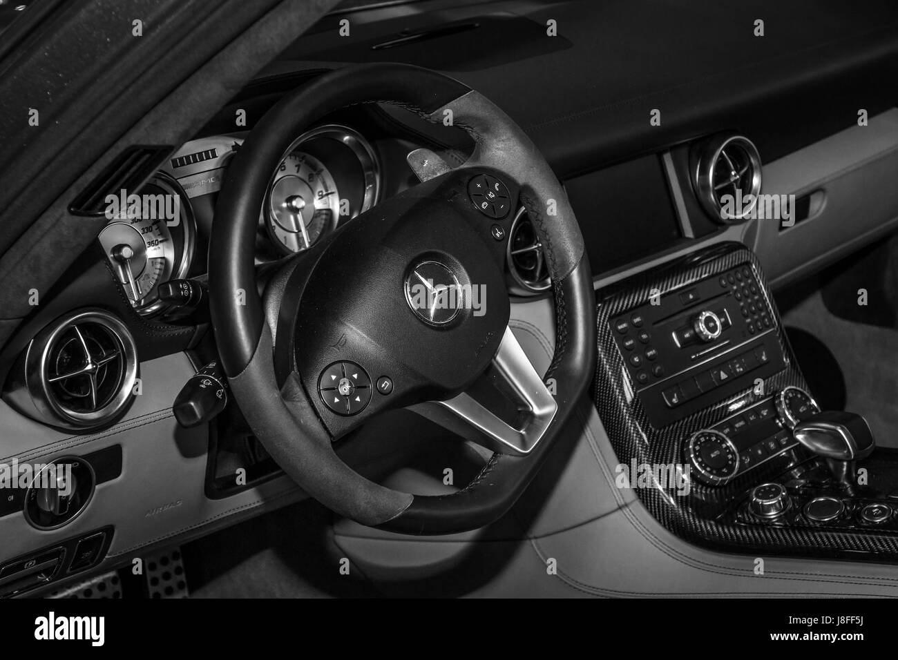 Interior of the sports car Mercedes-Benz SLS AMG Coupe, 2012. Black ...