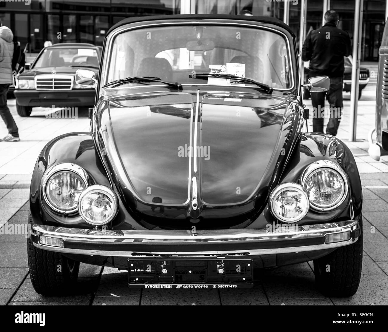 STUTTGART, GERMANY - MARCH 04, 2017: Compact car Volkswagen Beetle Cabrio, 1976. Black and white. Europe's greatest - Stock Image