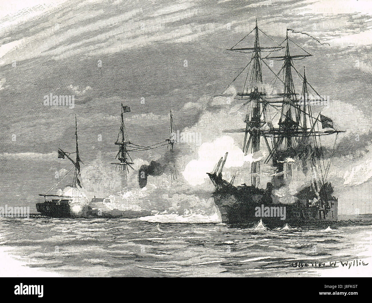 The sinking of Confederate States Navy warship, CSS Alabama by United States Navy warship, USS Kearsarge, off the - Stock Image