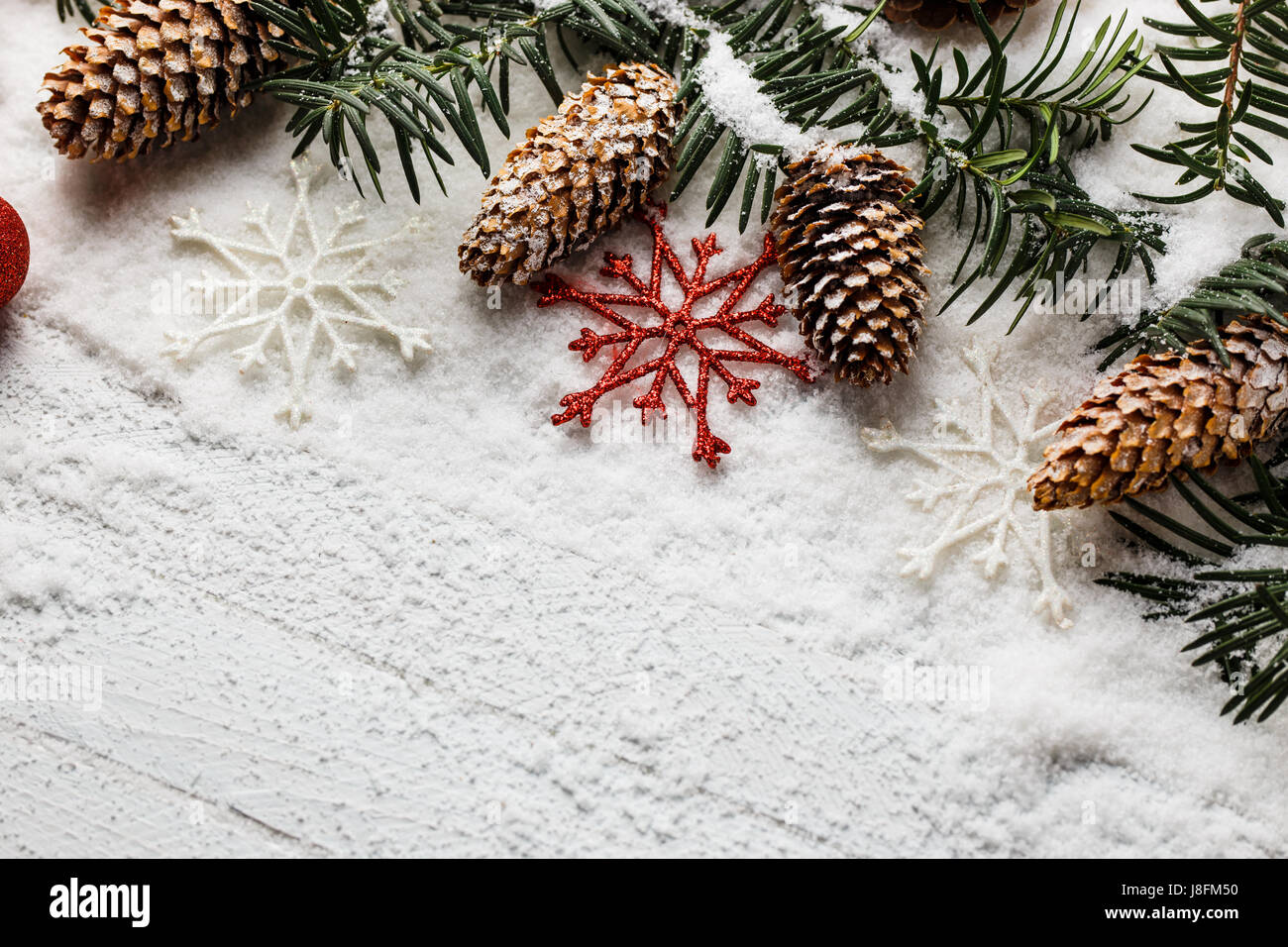 snowy christmas background with fir branch and pine cones J8FM50