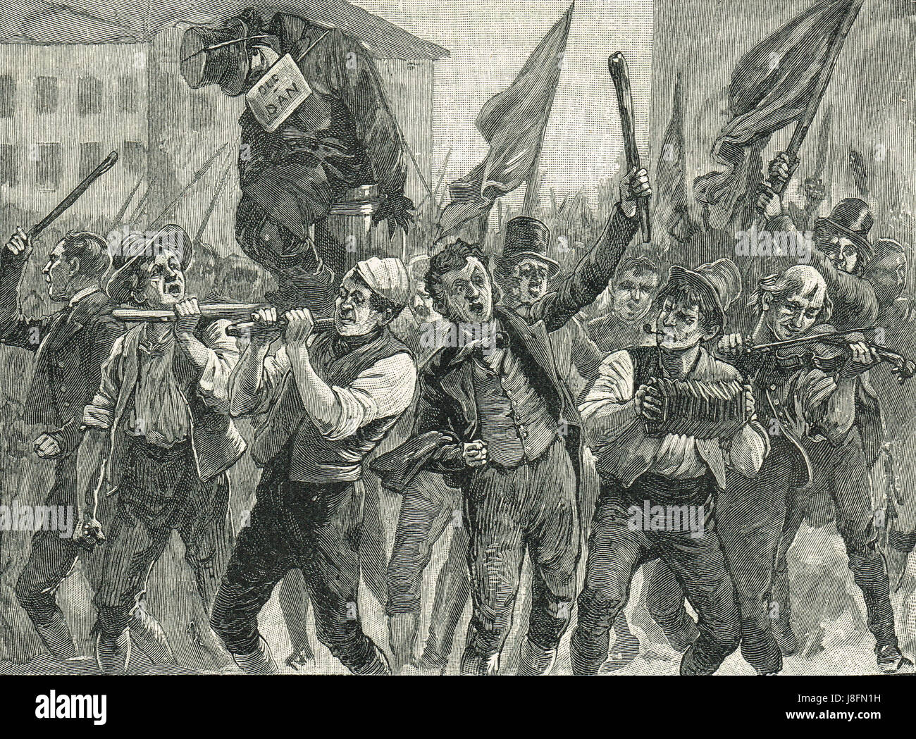 Protesters carrying Daniel O'Connell effigy at the Belfast Riots of 1864 - Stock Image