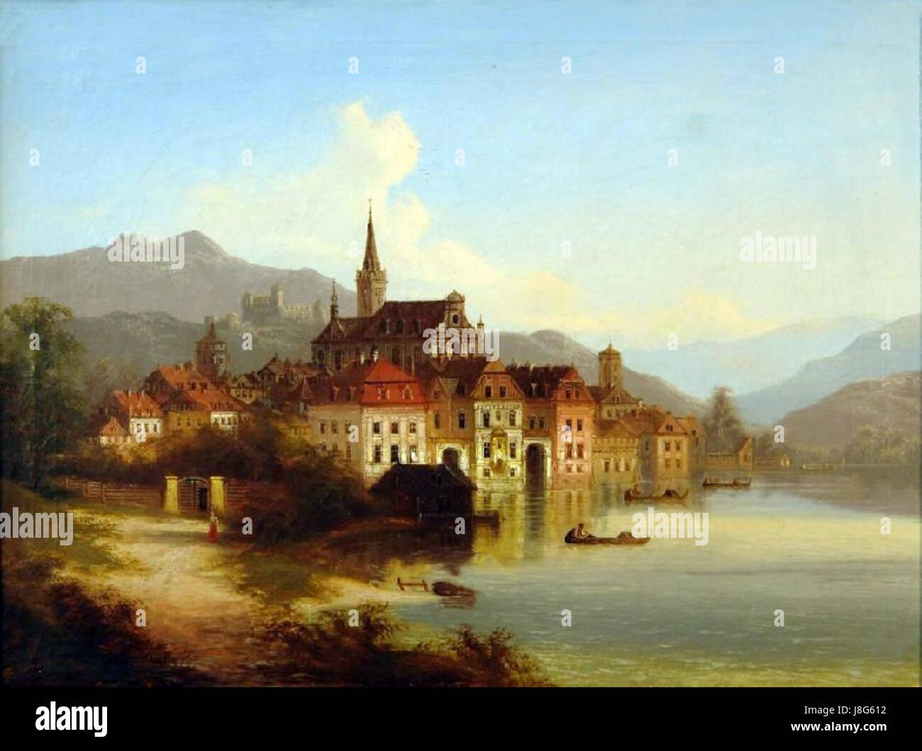 Johann Wilhelm Jankowski   Blick auf eine idyllische Stadt mit Festungsanlage Stock Photo