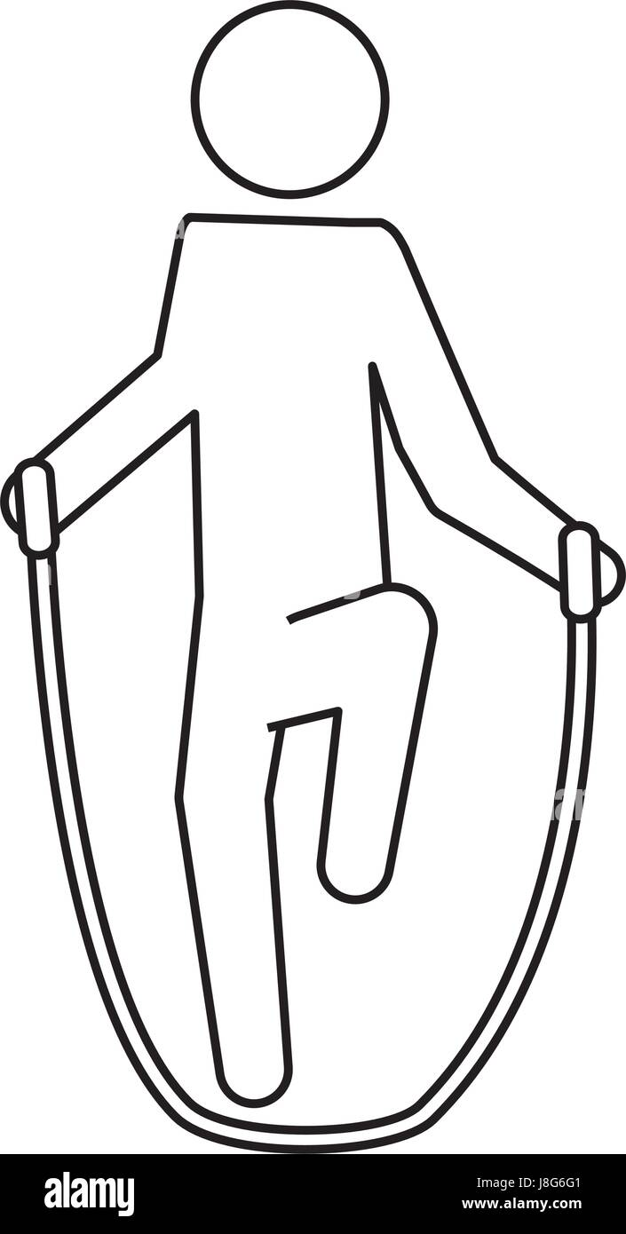pictogram man jumping rope workout J8G6G1 pictogram man jumping rope workout stock vector art & illustration
