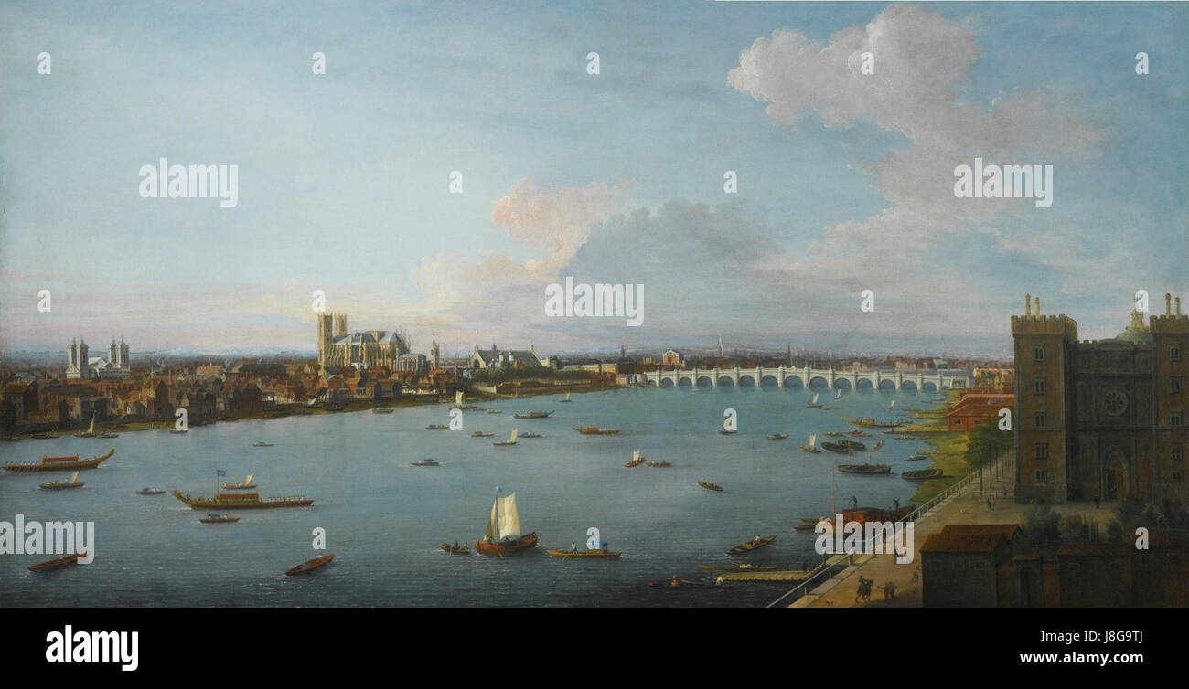 A View of the City of Westminster over the River Thames by Antonio Joli - Stock Image
