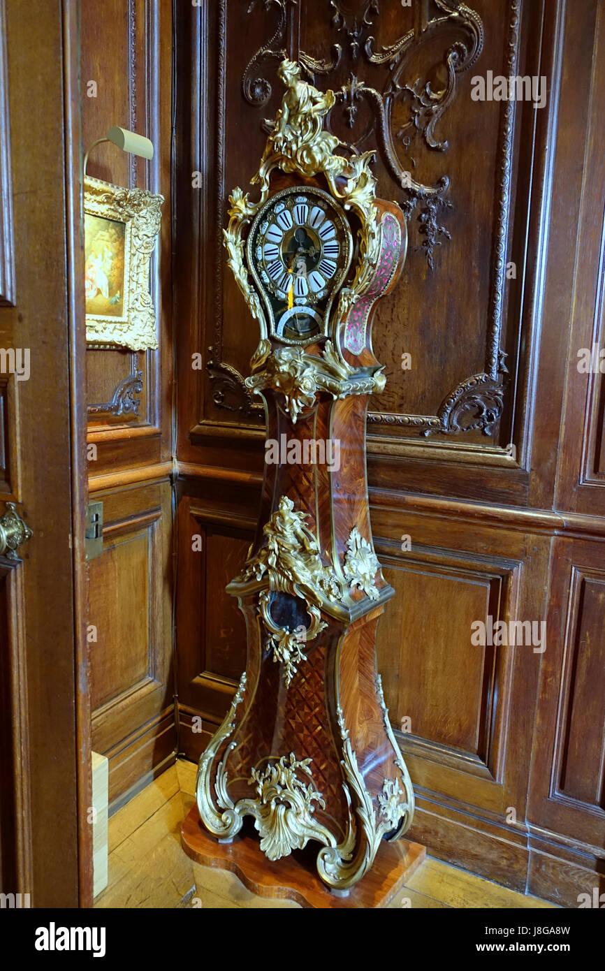 Longcase clock by Charles Cressent, Alexandre Le Faucheur, and Jacques Lepaute de Belle Fontaine, Paris, 1729 1735 - Stock Image