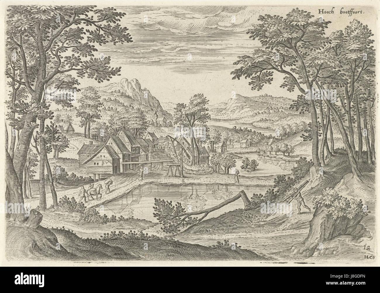 Gezicht op Bosvoorde, Hans Collaert (I), naar Hans Bol, Jacob Grimmer, 1530   1580 - Stock Image