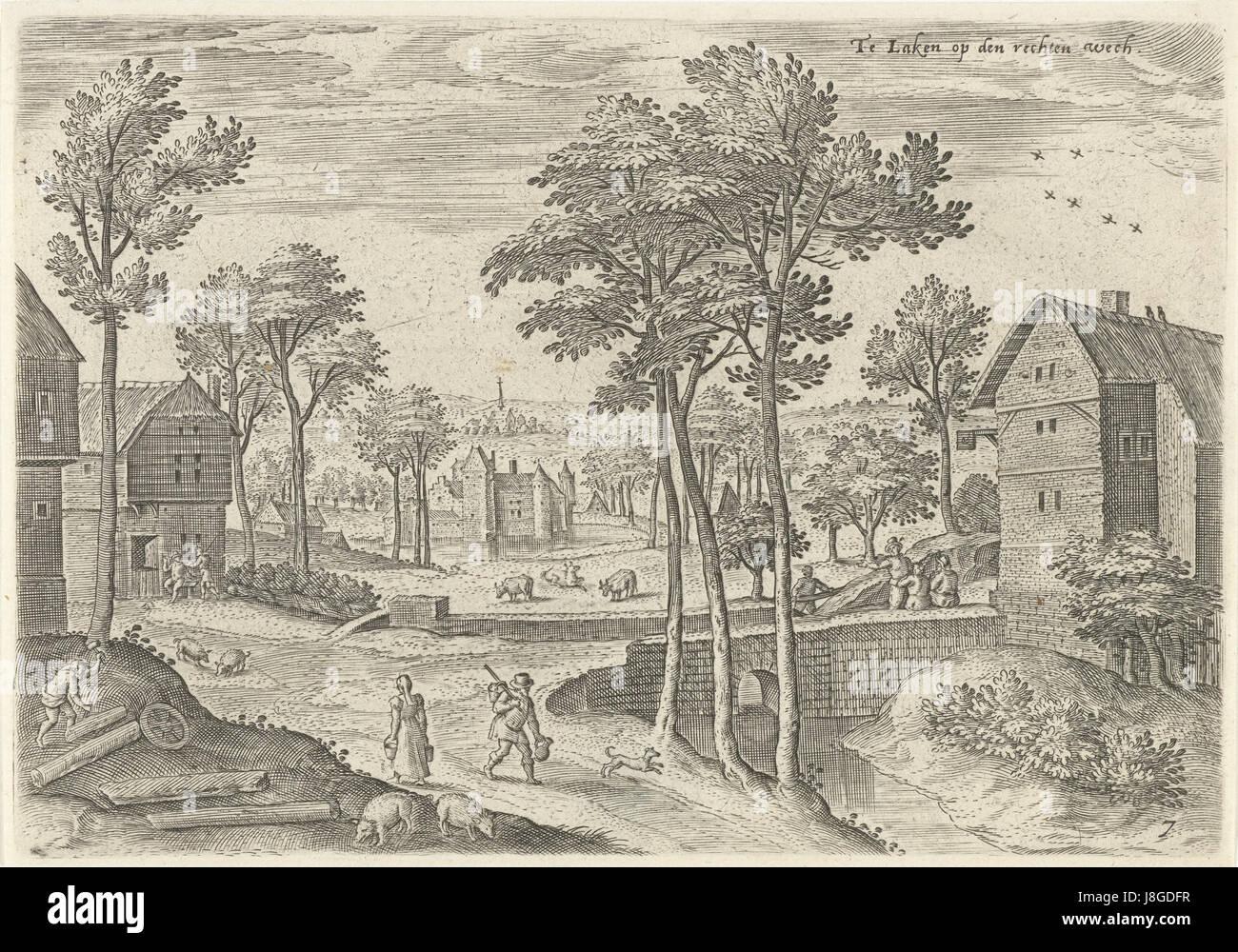 Gezicht op de hoofdstraat van Laken, Hans Collaert (I), naar Hans Bol, Jacob Grimmer, 1530   1580 - Stock Image