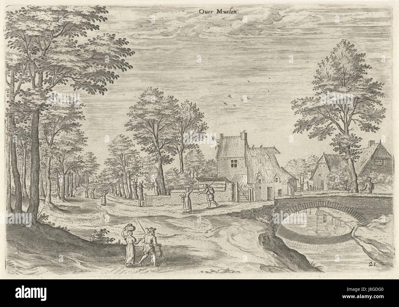 Gezicht op de weg naar de Brusselse stadspoort Overmolen, Hans Collaert (I), naar Hans Bol, Jacob Grimmer, 1530 - Stock Image