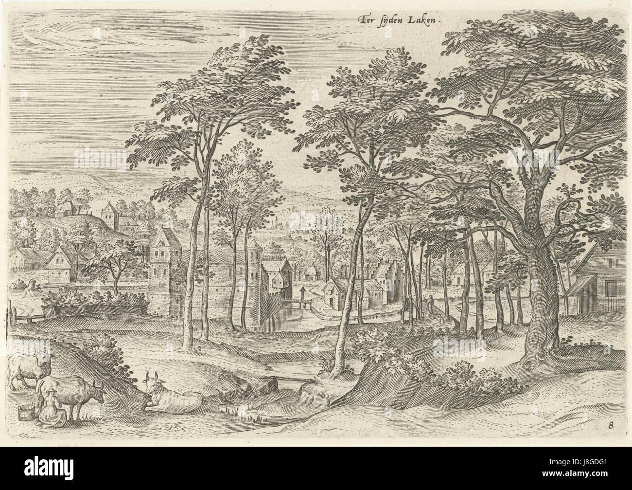 Gezicht op een slot in Laken, Hans Collaert (I), naar Hans Bol, Jacob Grimmer, 1530   1580 - Stock Image