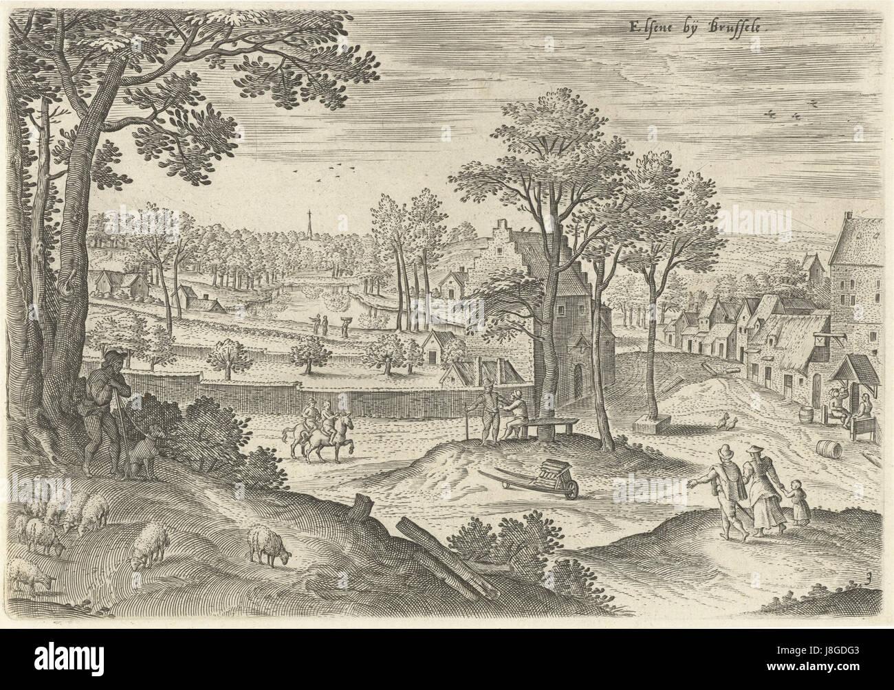 Gezicht op Elsene 2, Hans Collaert (I), naar Hans Bol, Jacob Grimmer, 1530   1580 - Stock Image