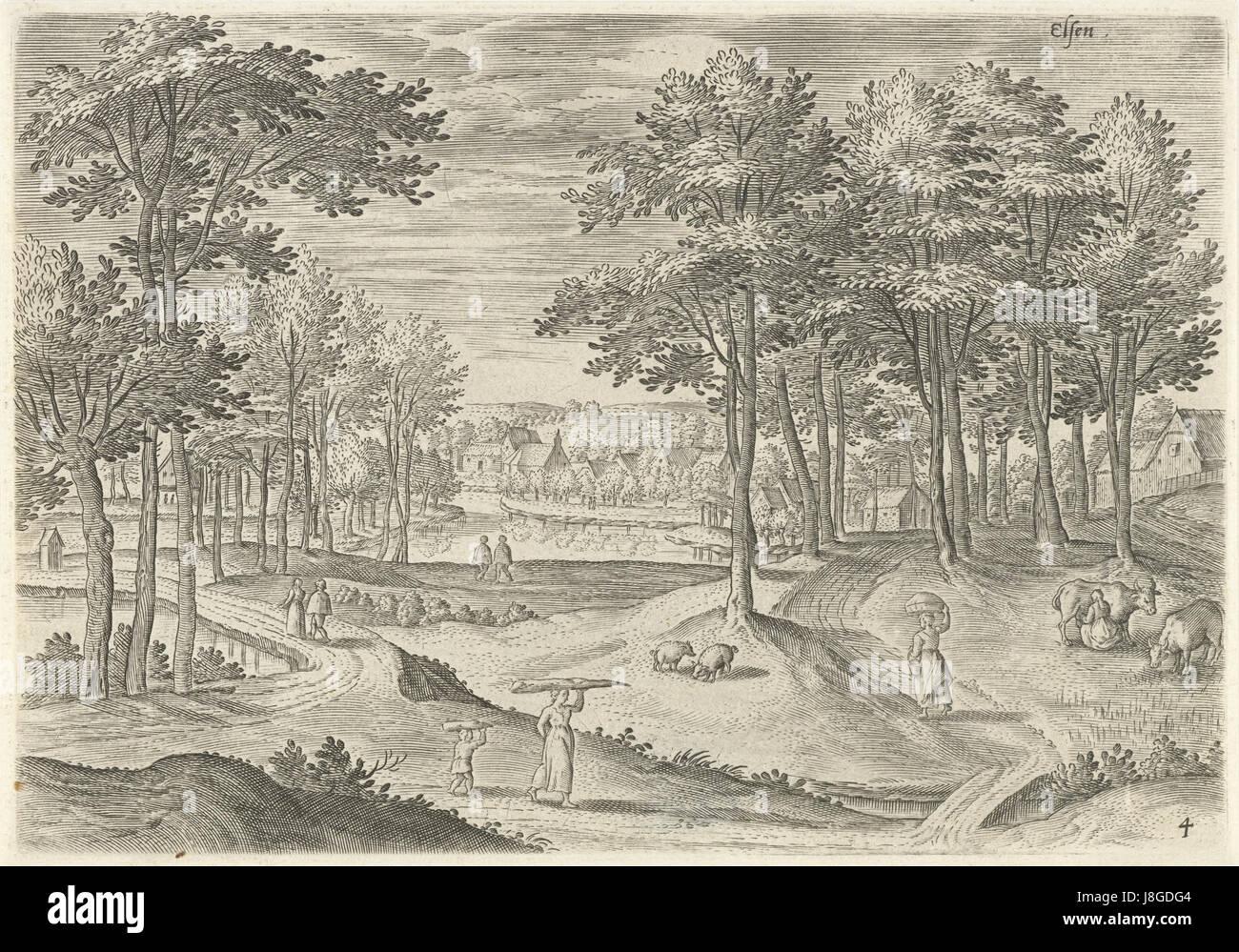 Gezicht op Elsene, Hans Collaert (I), naar Hans Bol, Jacob Grimmer, 1530   1580 - Stock Image