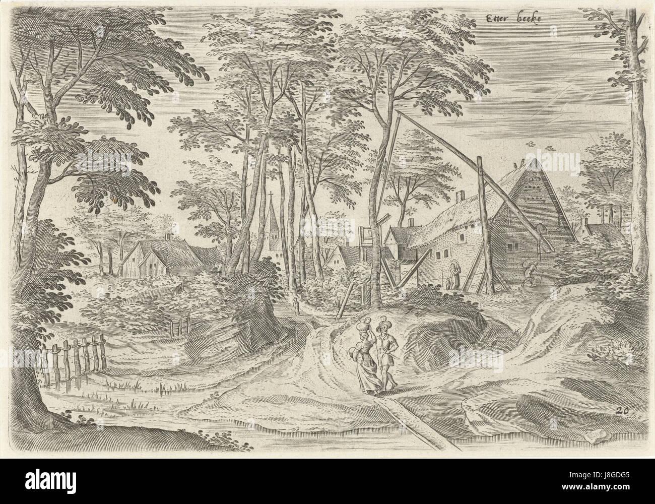 Gezicht op Etterbeek, Hans Collaert (I), naar Hans Bol, Jacob Grimmer, 1530   1580 - Stock Image