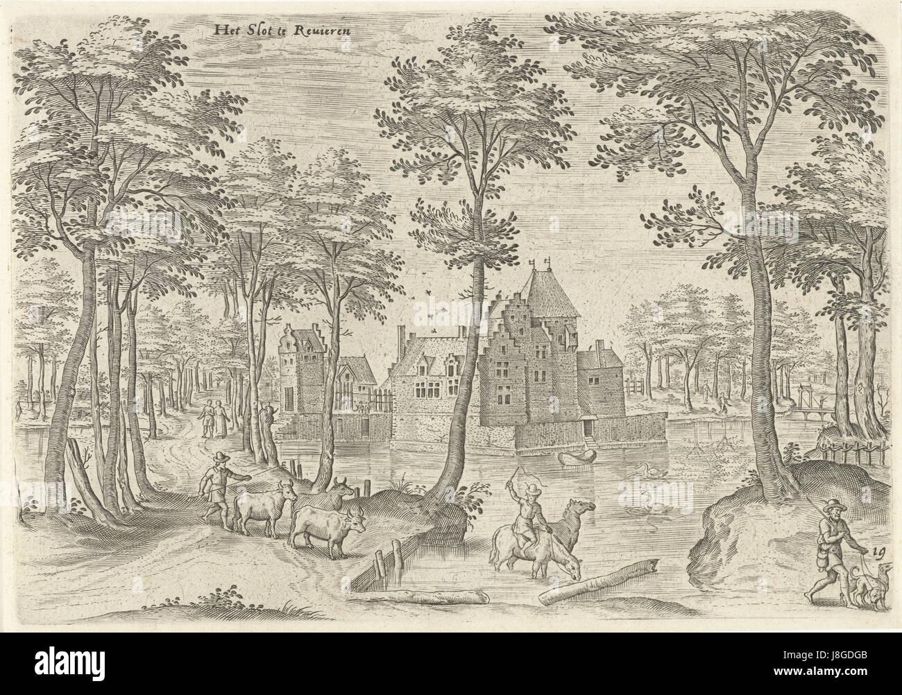 Gezicht op het Kasteel van Rivieren, Hans Collaert (I), naar Hans Bol, Jacob Grimmer, 1530   1580 - Stock Image