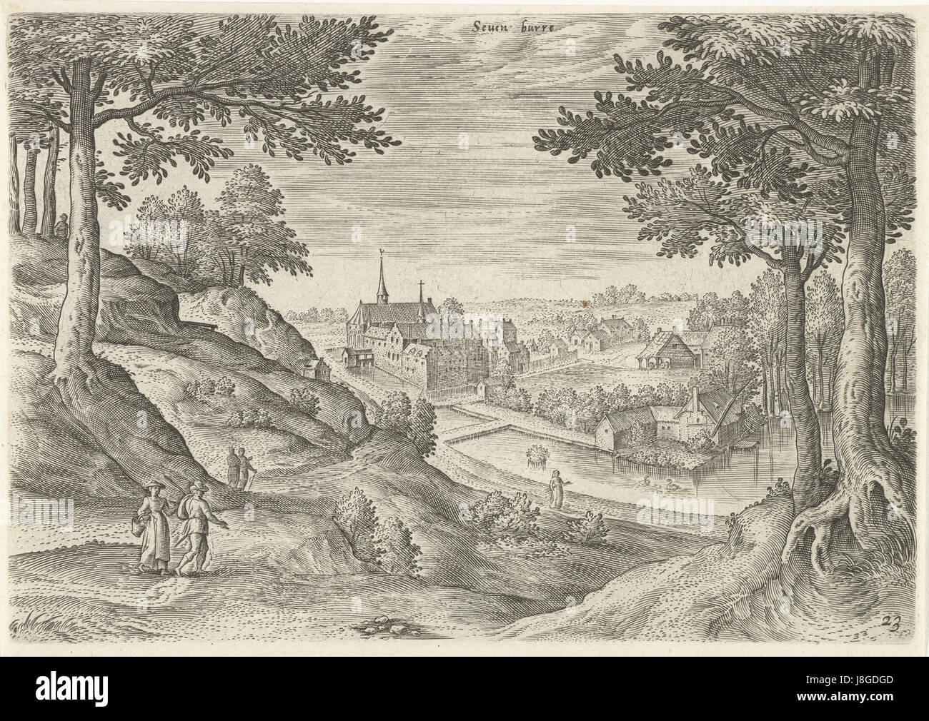 Gezicht op het klooster van Zevenborren, Hans Collaert (I), naar Hans Bol, Jacob Grimmer, 1530   1580 - Stock Image