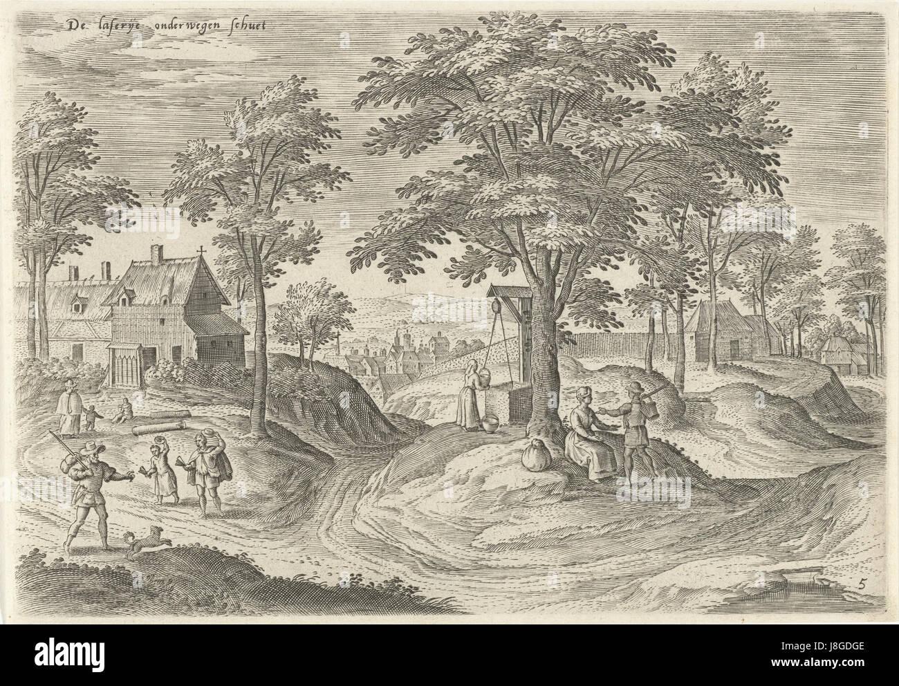 Gezicht op het leprozenhuis van Scheut, Hans Collaert (I), naar Hans Bol, Jacob Grimmer, 1530   1580 - Stock Image