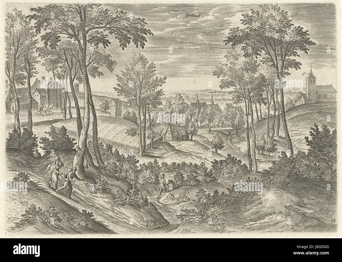 Gezicht op Linthout, Hans Collaert (I), naar Hans Bol, Jacob Grimmer, 1530   1580 - Stock Image
