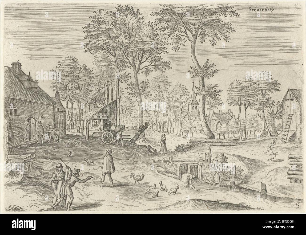 Gezicht op Schaarbeek, Hans Collaert (I), naar Hans Bol, Jacob Grimmer, 1530   1580 - Stock Image
