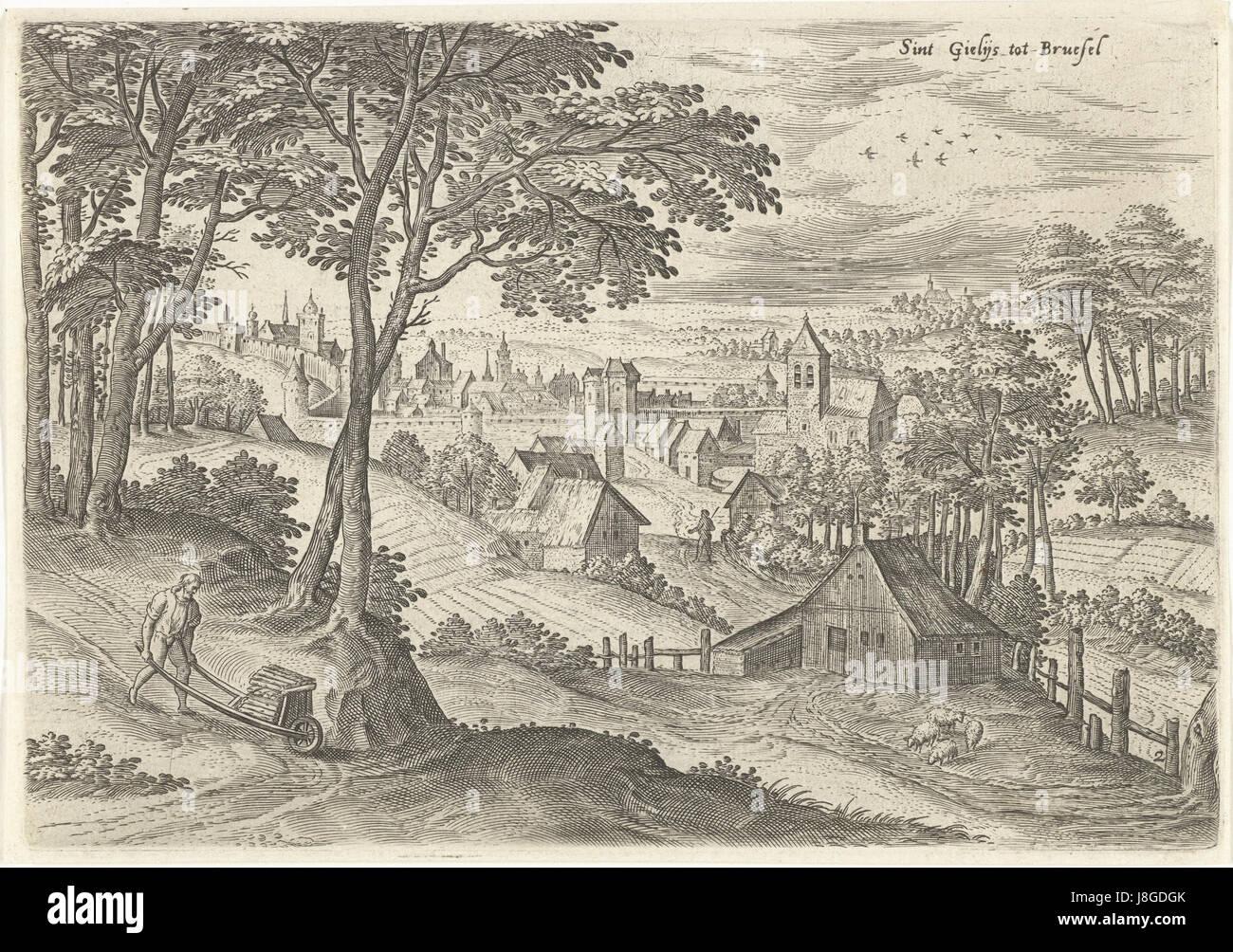 Gezicht op Sint Gillis, Hans Collaert (I), naar Hans Bol, Jacob Grimmer, 1530   1580 - Stock Image