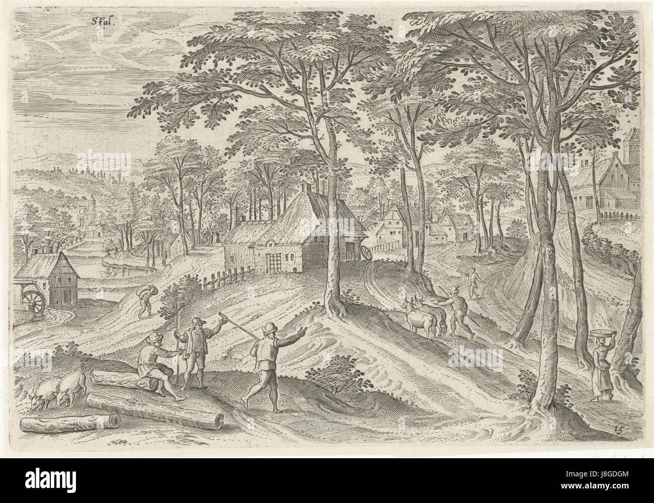 Gezicht op Stal 2, Hans Collaert (I), naar Hans Bol, Jacob Grimmer, 1530   1580 - Stock Image