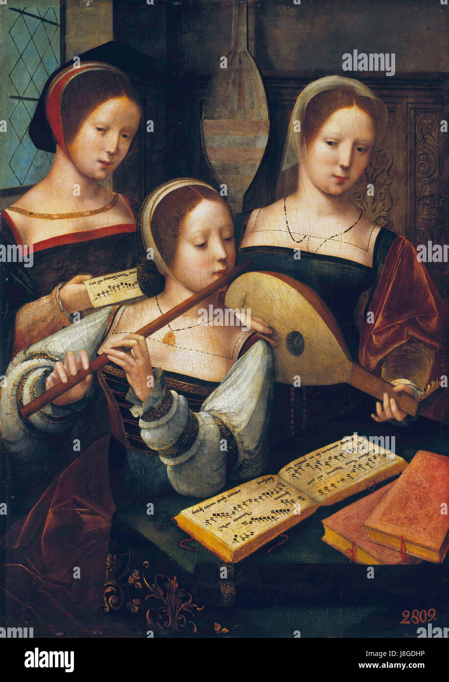 Female Musicians, by Master of the Female Half Lengths - Stock Image