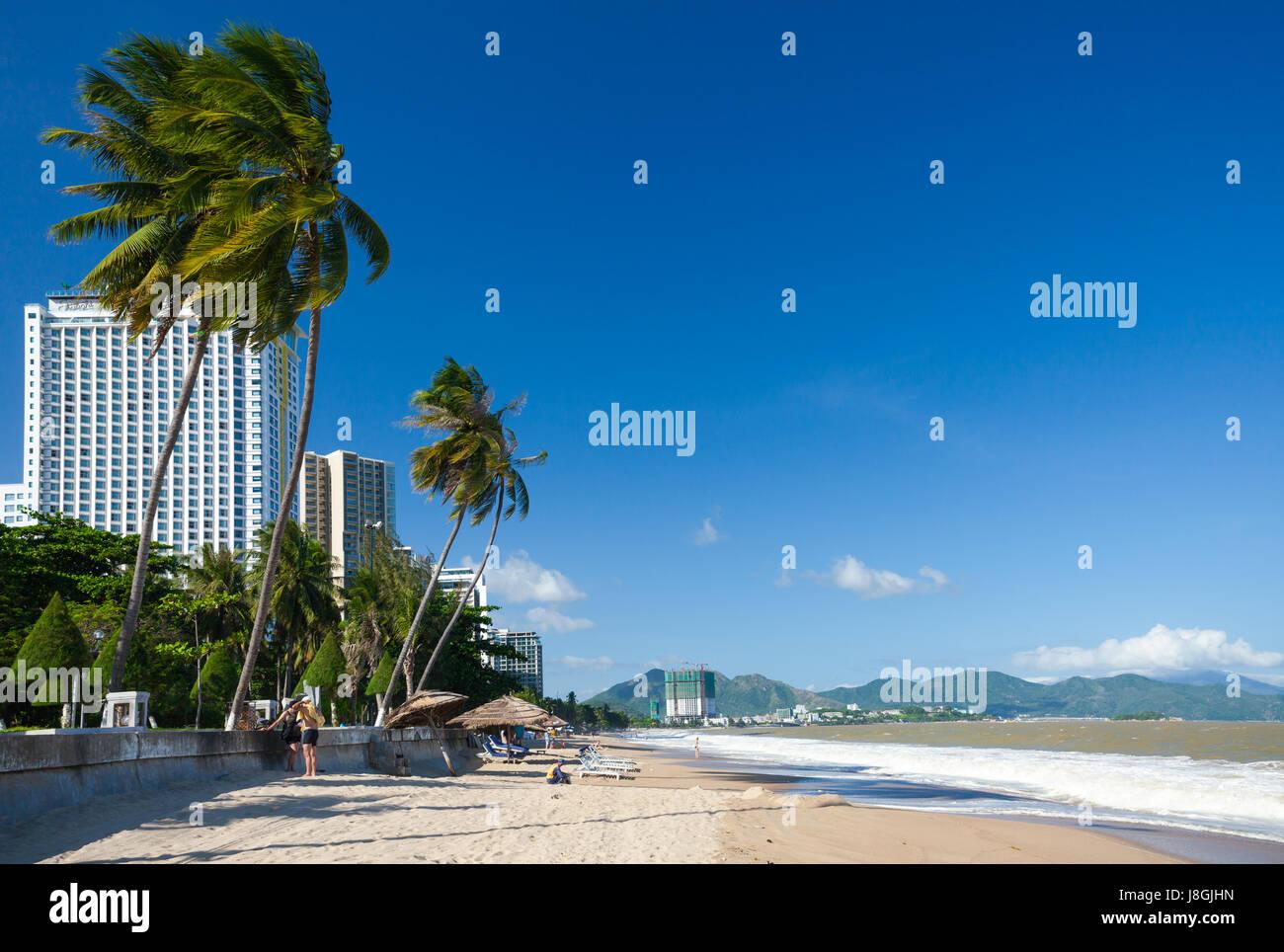 Nha Trang city beach in a sunny day, Nha Trang, Vietnam. - Stock Image