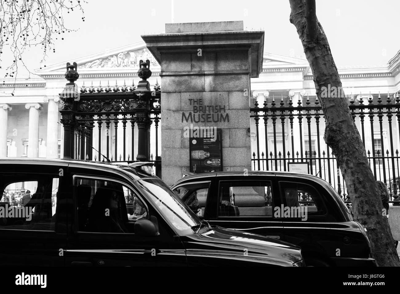 UK, London - 08 April 2015: The British Museum in London. Sign at the entrance to the museum. - Stock Image