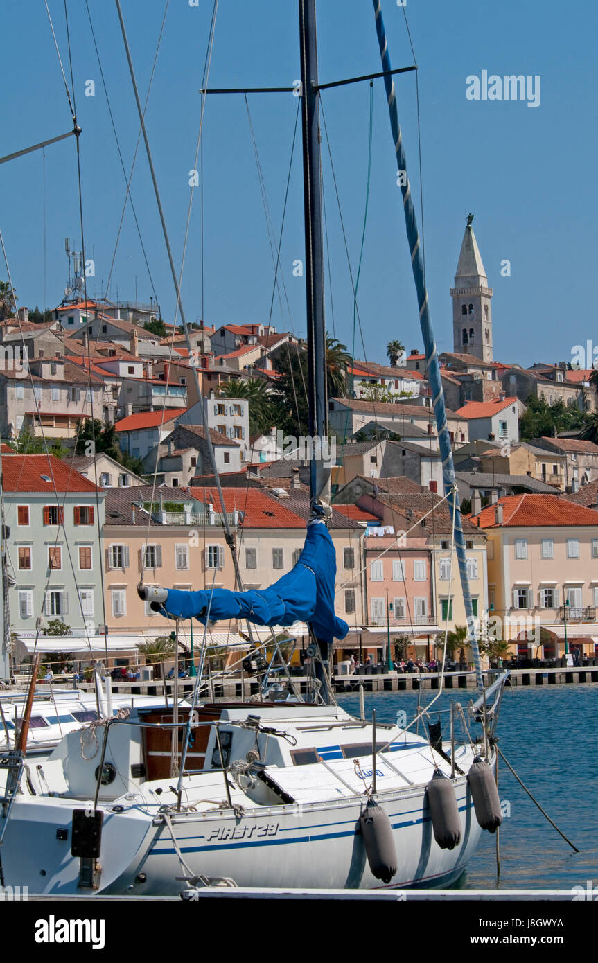 The town of Mali Losinj Croatia on a summer day - Stock Image