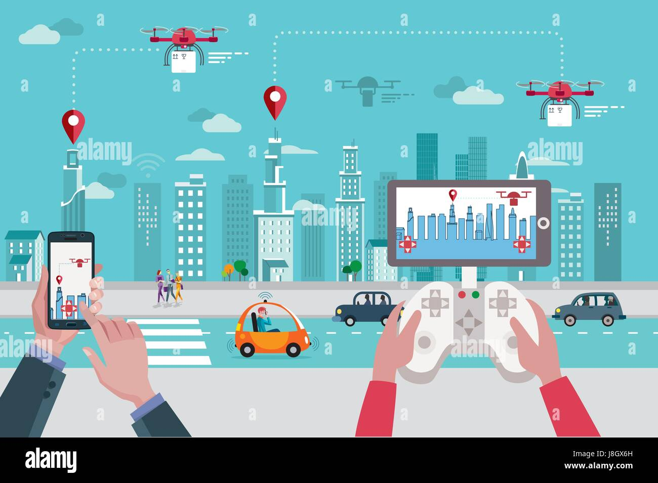 People launching drones by different remote control devices in front of the skyline of a big modern city with skyscrapers. Stock Vector