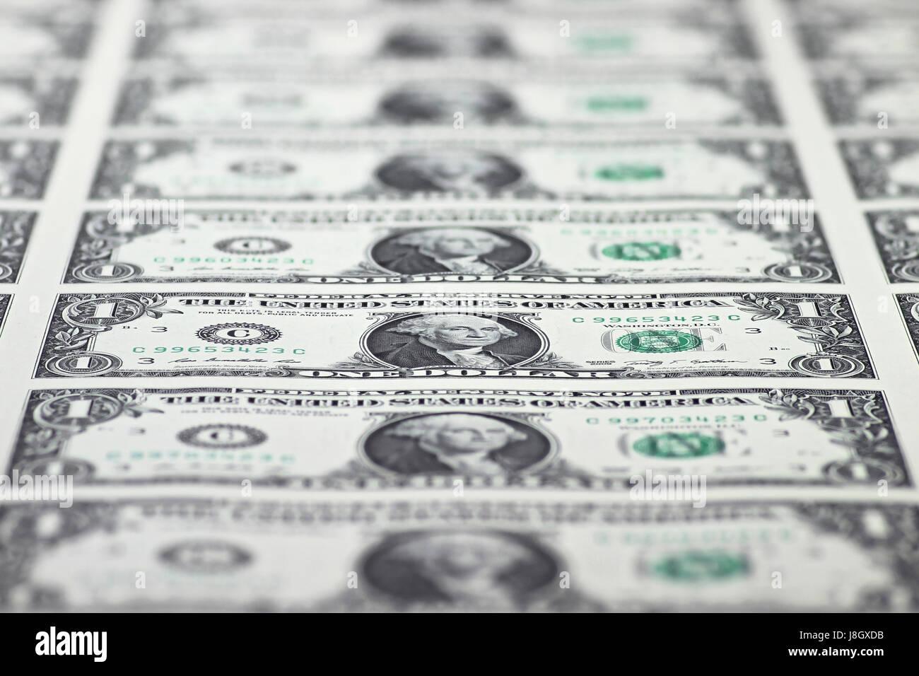 1 US Dollar uncut sheet - Stock Image