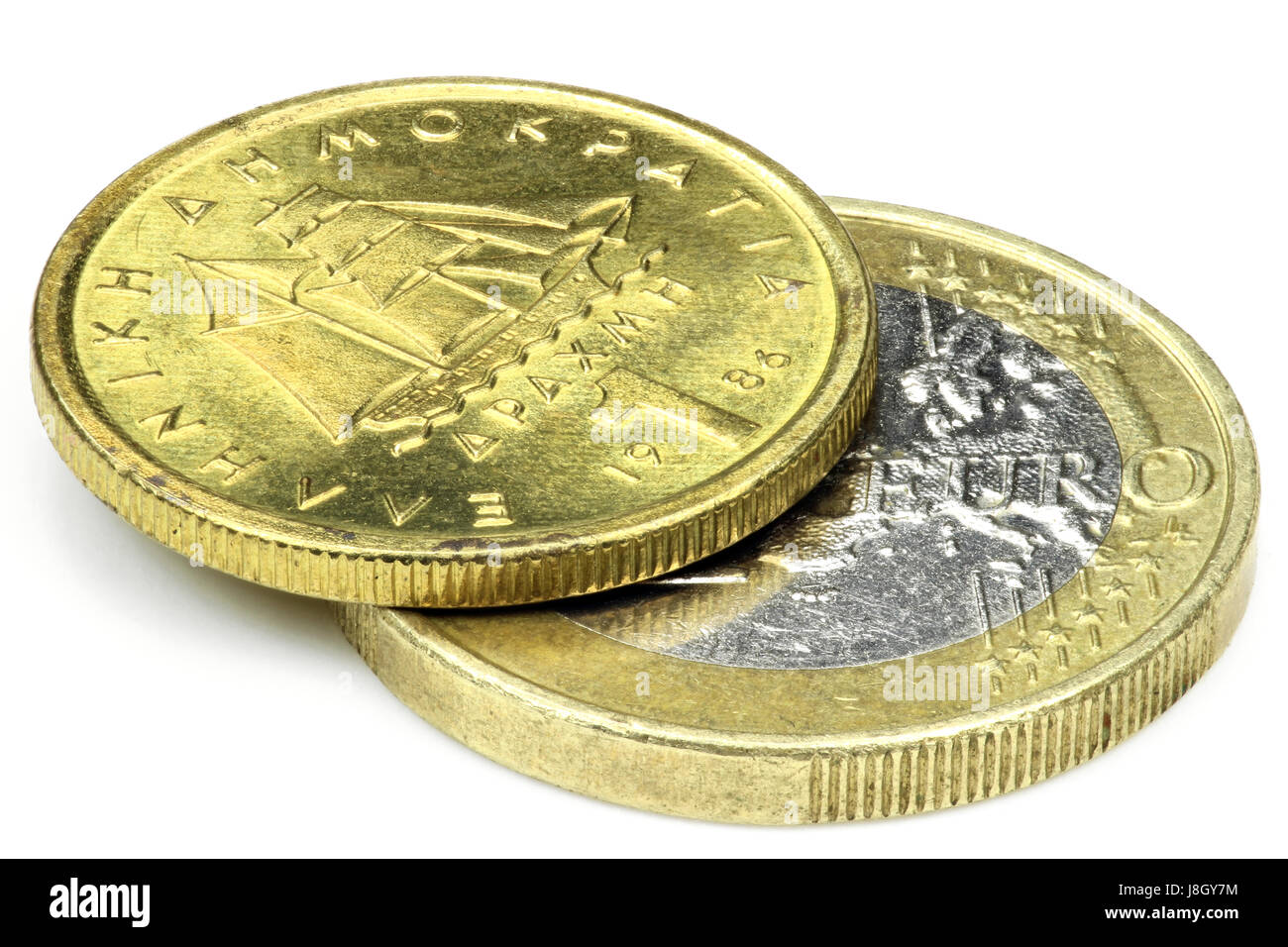 1 European Euro and 1 Greek Drachma isolated on white background - Stock Image