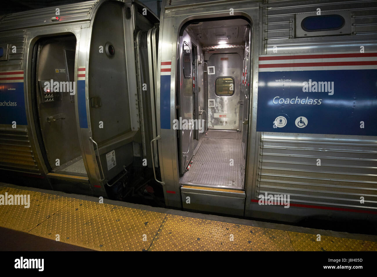 amtrak coachclass train carriages at penn station New York City USA - Stock Image