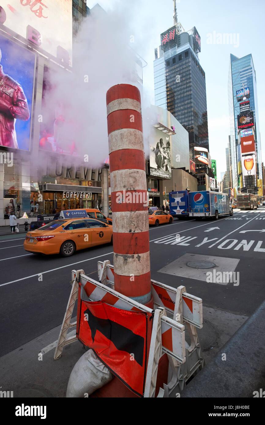 New York City con edison steam vent in times square USA Stock Photo