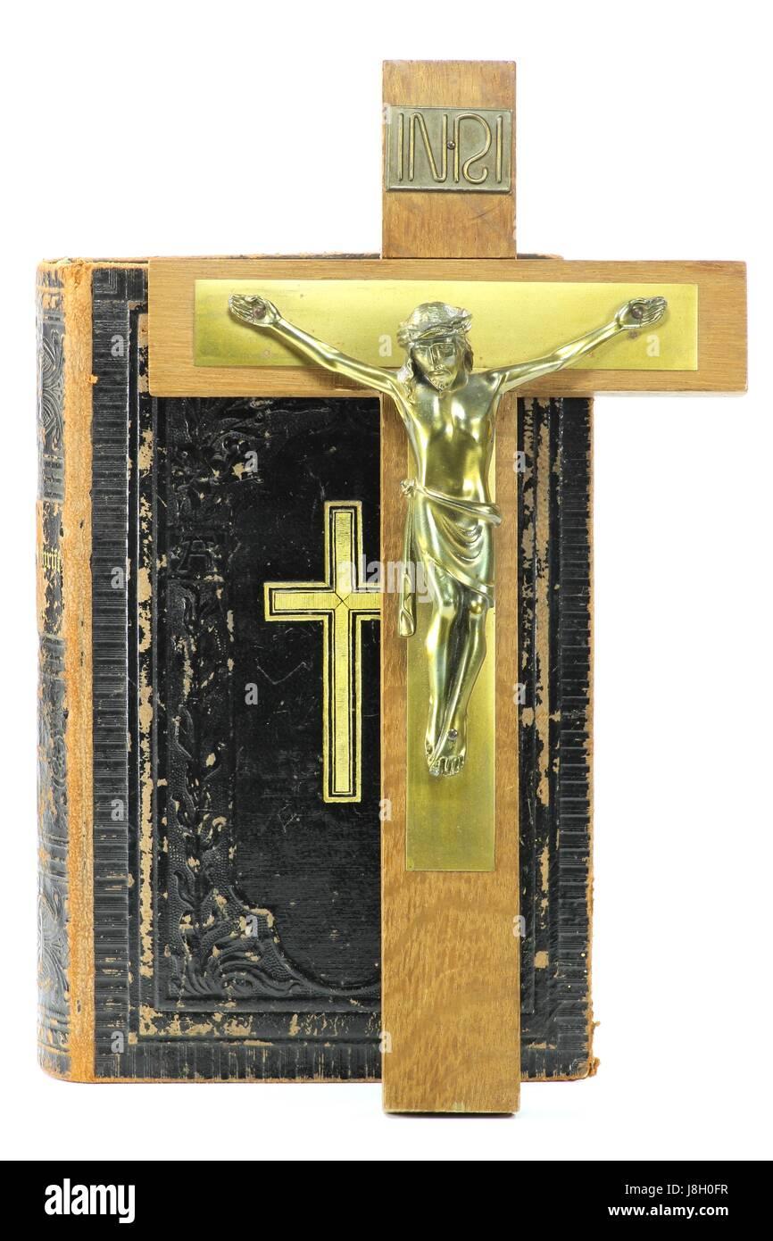 crucifix and bible isolated on white background - Stock Image