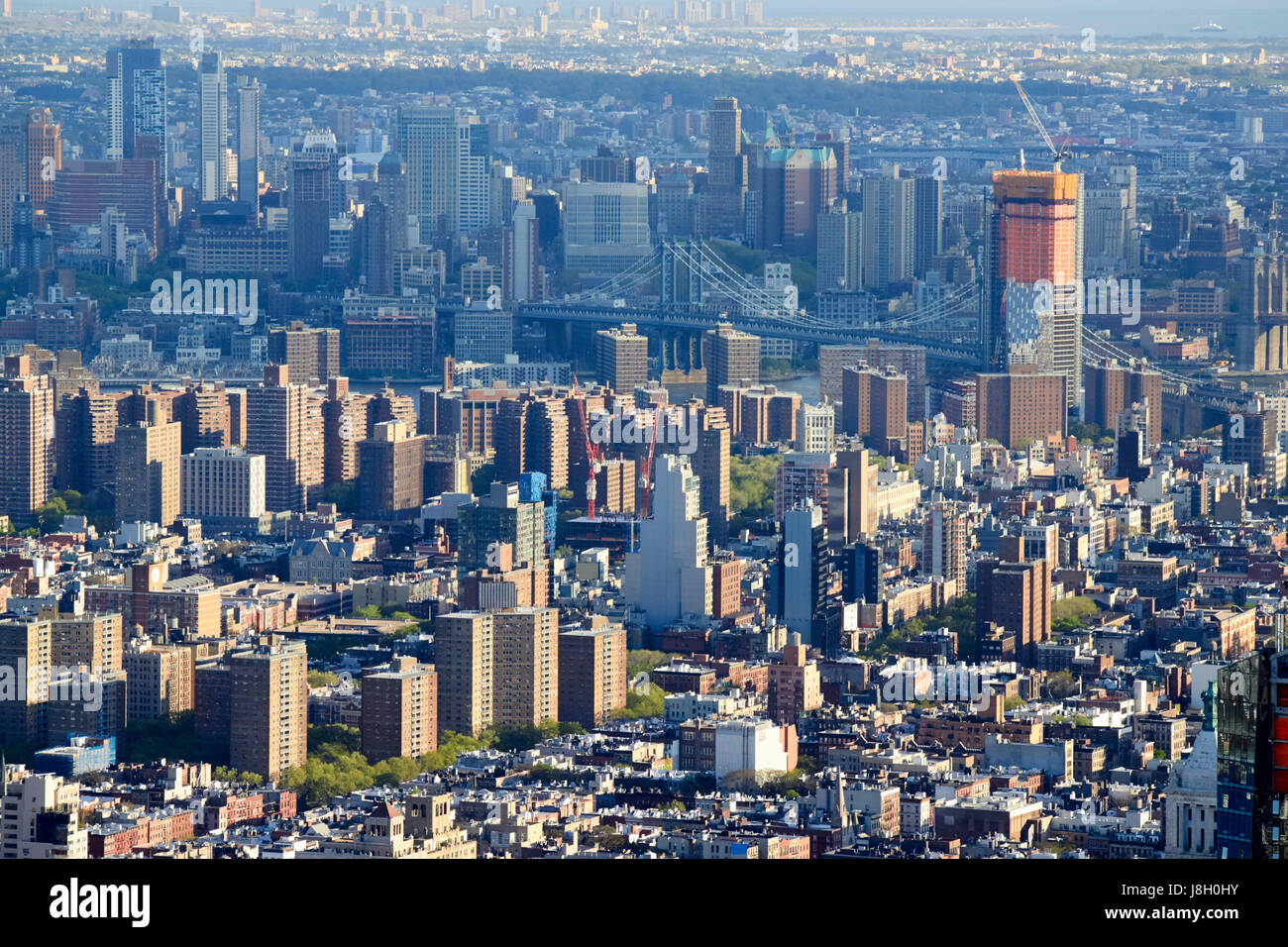 views of the lower east side east village over the manhattan bridge to brooklyn New York City USA - Stock Image
