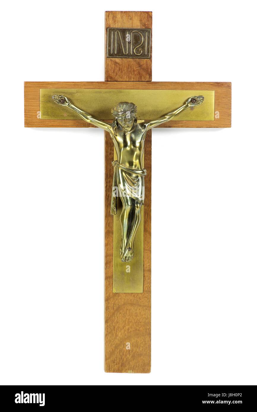 crucifix against white background - Stock Image