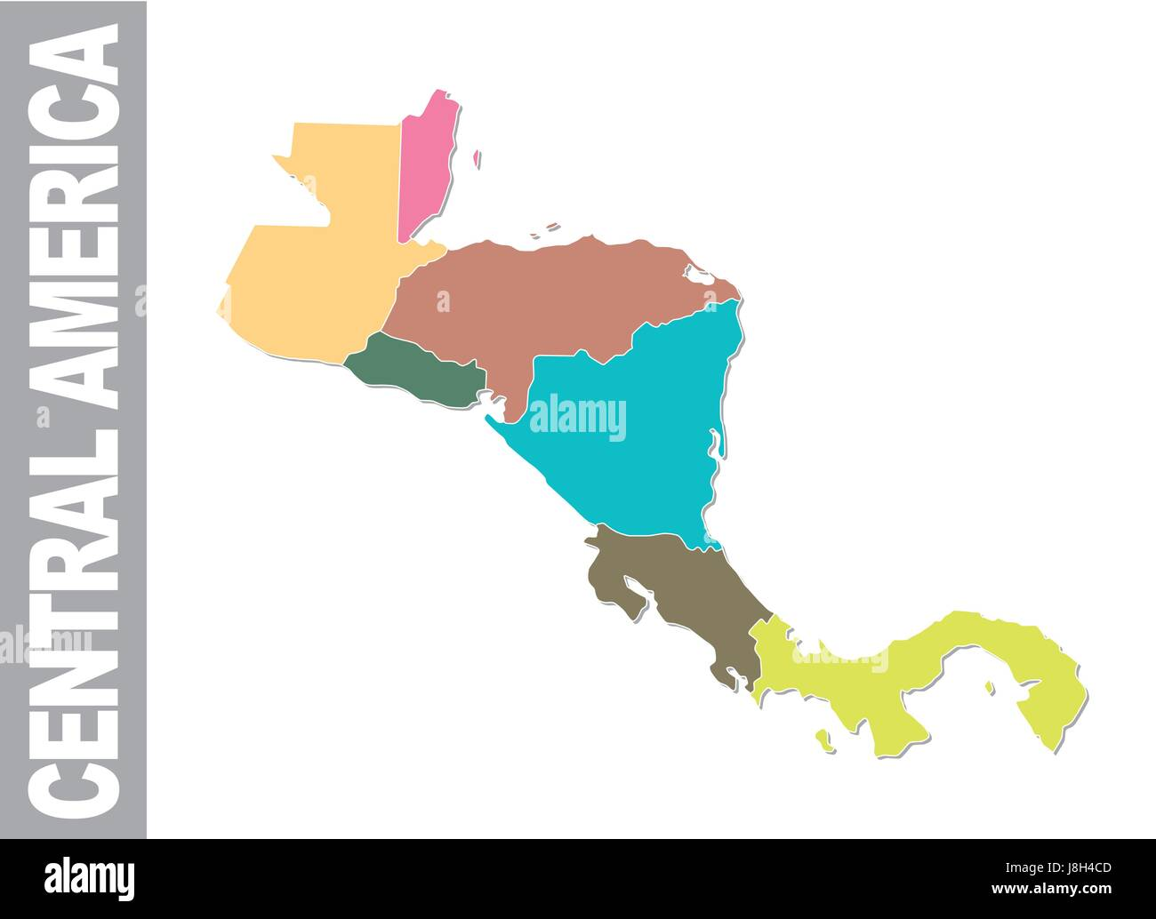 Colorful Central America administrative and political vector ...