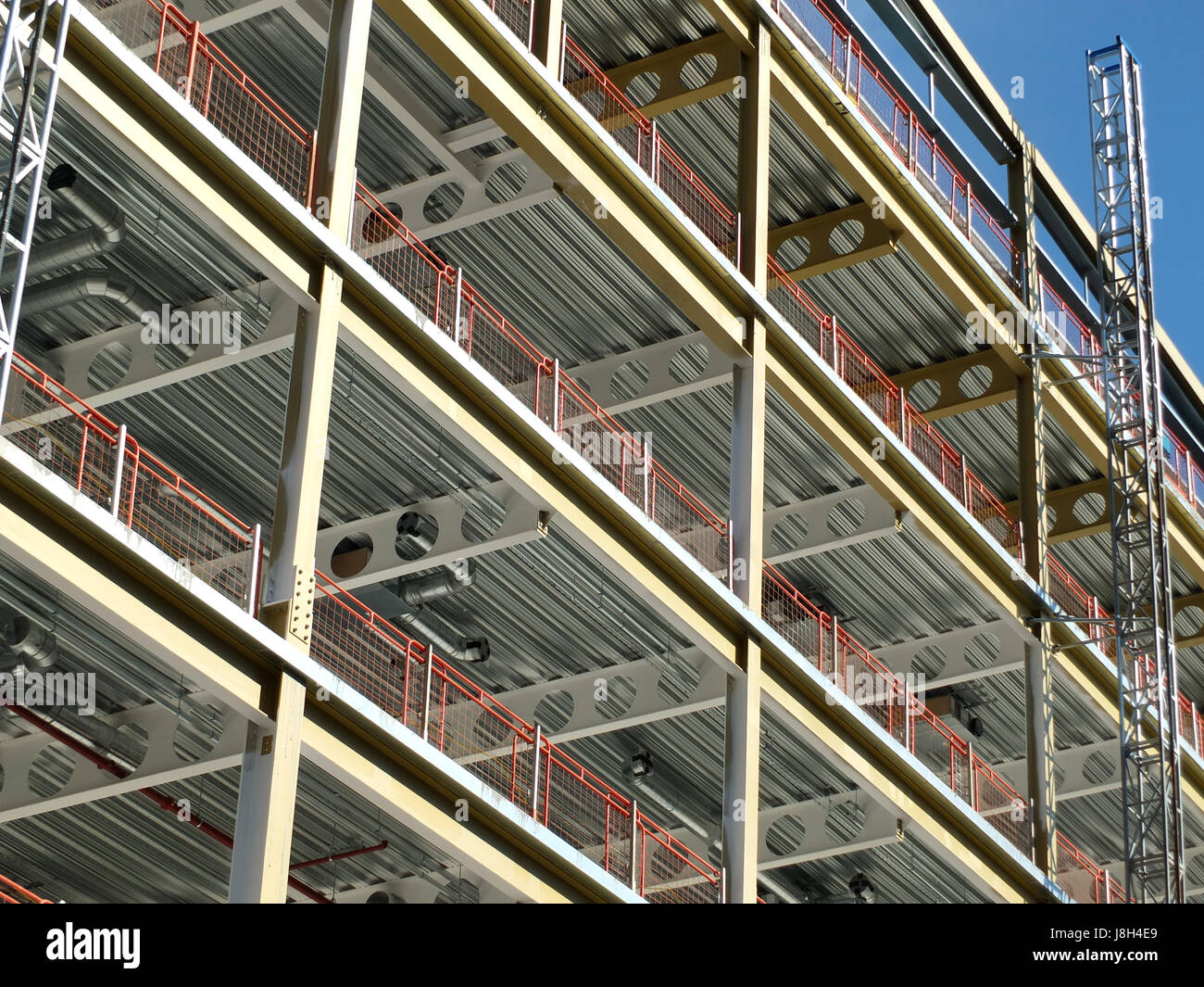 construction site or modern office development with metal framework - Stock Image