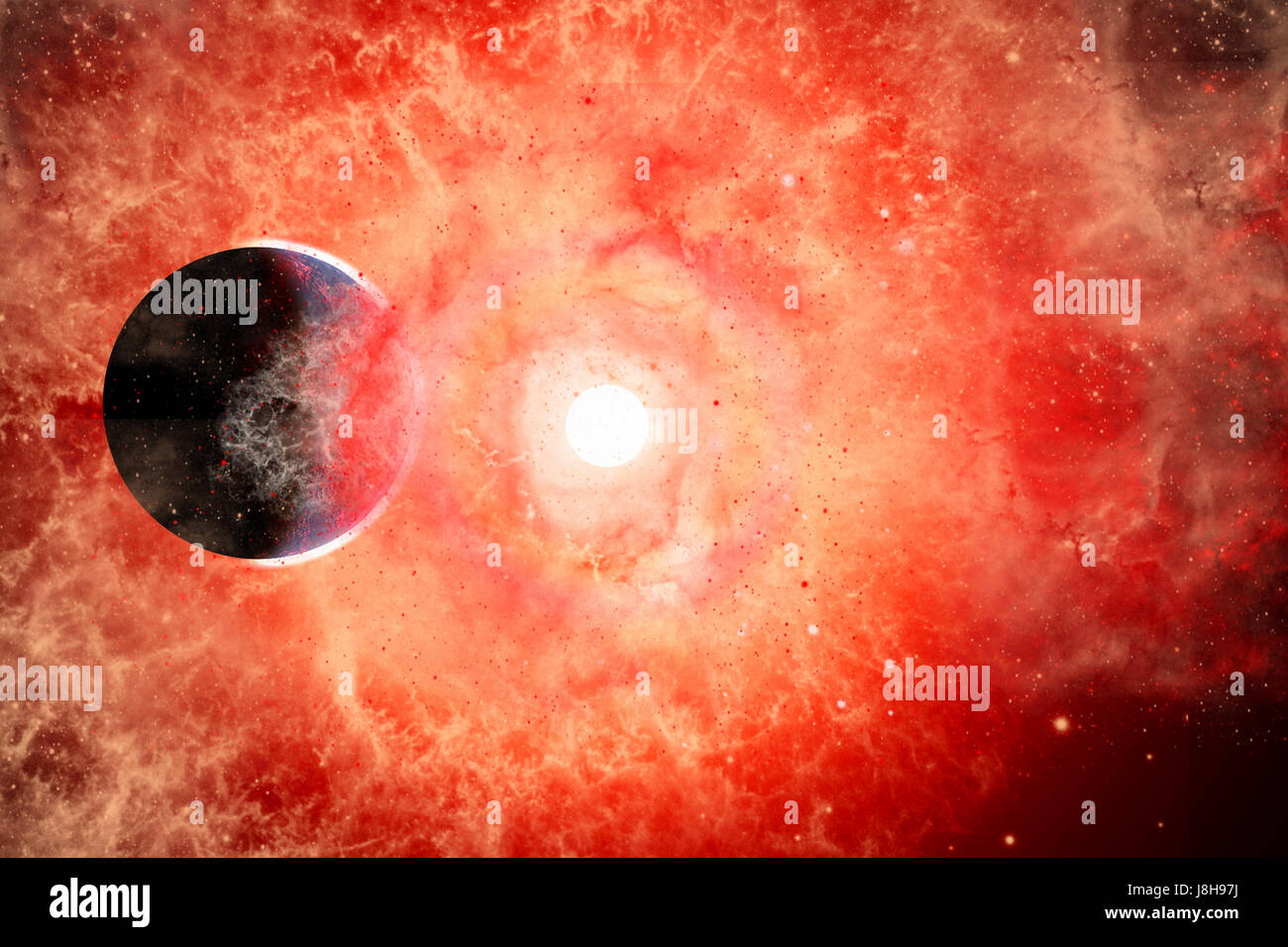 A Supernova Destroying Itself , & Its System Of Planets. - Stock Image