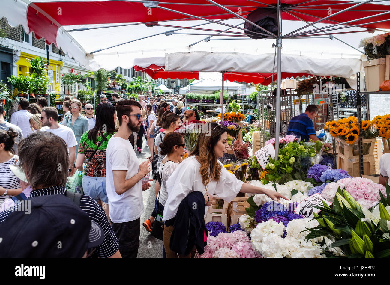 Columbia Road Flower Market - a very popular Sunday market in East London Stock Photo