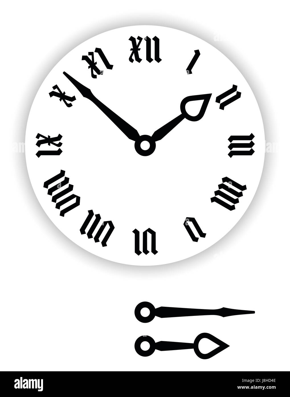 Fraktur Roman numerals clock face. Part of analog clock with black pointers. Dial with blackletter numerals, also - Stock Image